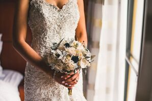White Rose and Blue Thistle Frosted Bouquet