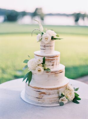 Round Tiered Naked Cake with White Frosting and Roses