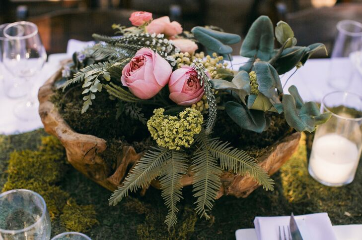 Natural Wooden Bowl With Moss and Greens Centerpiece