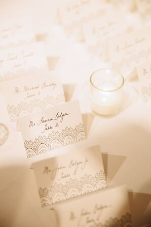 Calligraphed Escort Cards with Lace Detail
