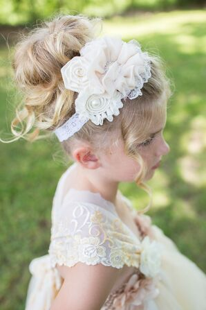 Vintage-Style Lace and Pearl Flower Girl Headband