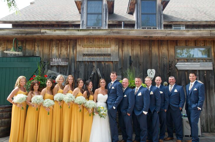 Karen's 'maids wore goldenrod floor length dresses by Watters, while Todd and his 'men wore slate blue suits from Chazmatazz Formal Wear in Toms River, New Jersey.