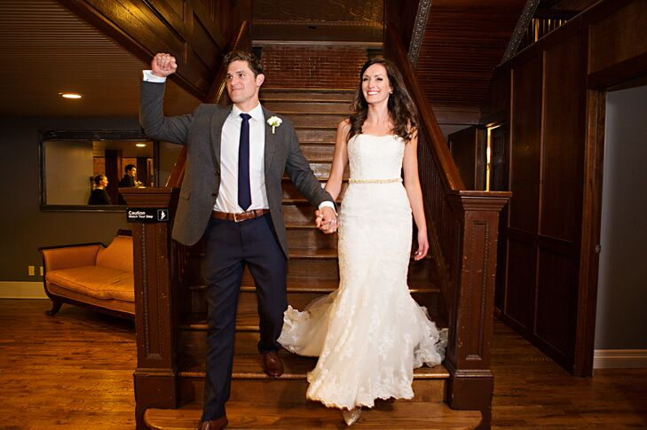 """When it came to her bridal look, Alexis went for all-out classic romance. """"I wanted something that I felt beautiful in and that I would look back on in 20 years and still think was beautiful,"""" Alexis says. She headed to the San Patrick boutique in Atlanta to find the perfect gown and instantly fell in love with a strapless lace number with a figure-flattering mermaid-style silhouette. She had her seamstress sew Andrew's nametape from his military uniform inside the gown as a nod to the six-month period when Andrew was deployed to Afghanistan. """"Even though Andrew wasn't wearing his dress blues, we felt it was important to remember the six months when he was deployed and how much we had grown as a couple,"""" Alexis says."""