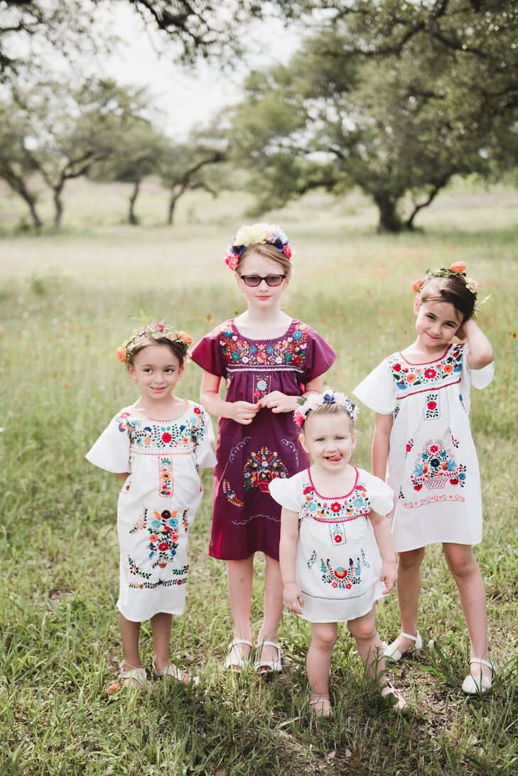 The flower girls wore traditional embroidered Mexican dresses.