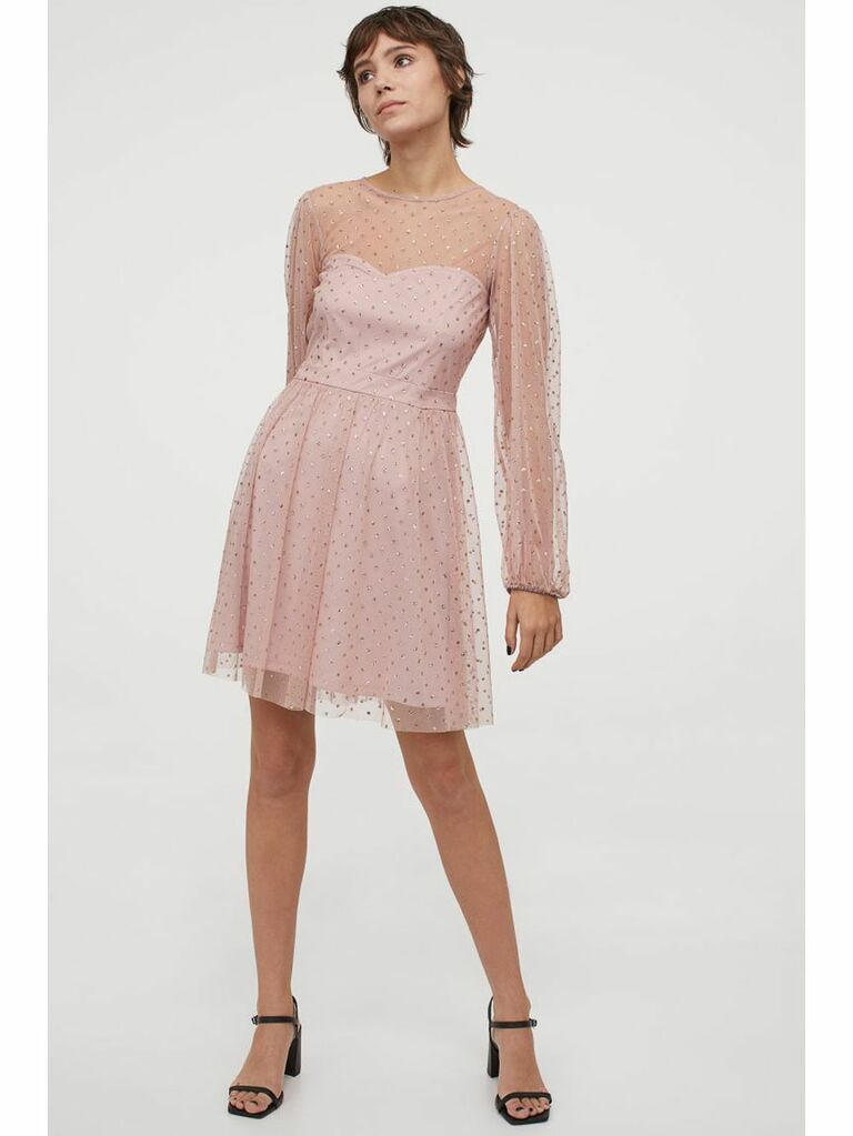 Pink mini dress with sheer glitter overlay