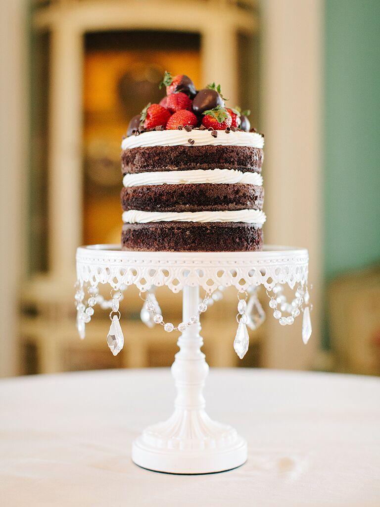 Naked wedding cake for a fall wedding