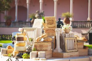 Wine, Cheese, Baguette and Wooden Box Accents