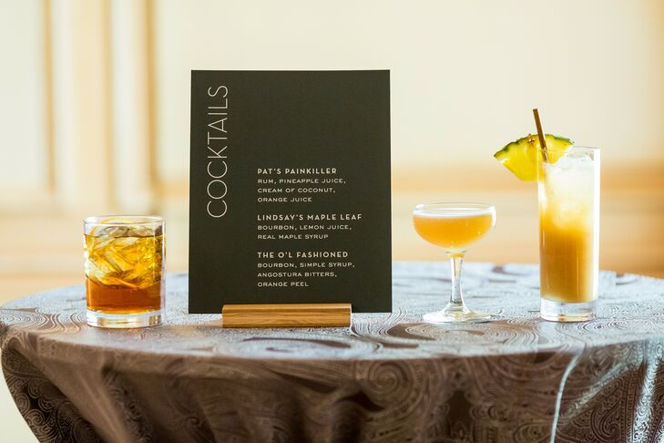 Cocktail Bar Menu for Wedding at The Meridian House in Washington, D.C.