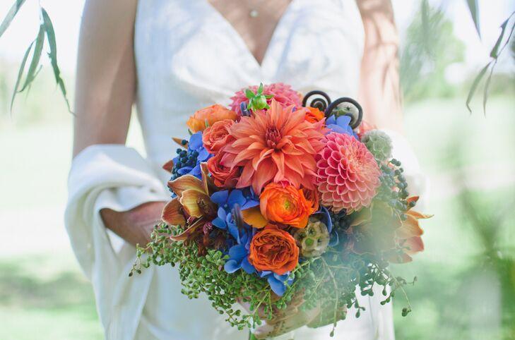 Orange and Blue Bridal Bouquet