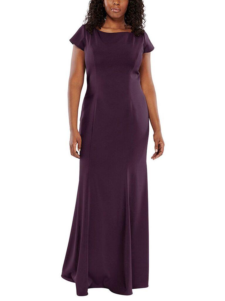 Elegant plus size purple bridesmaid dress