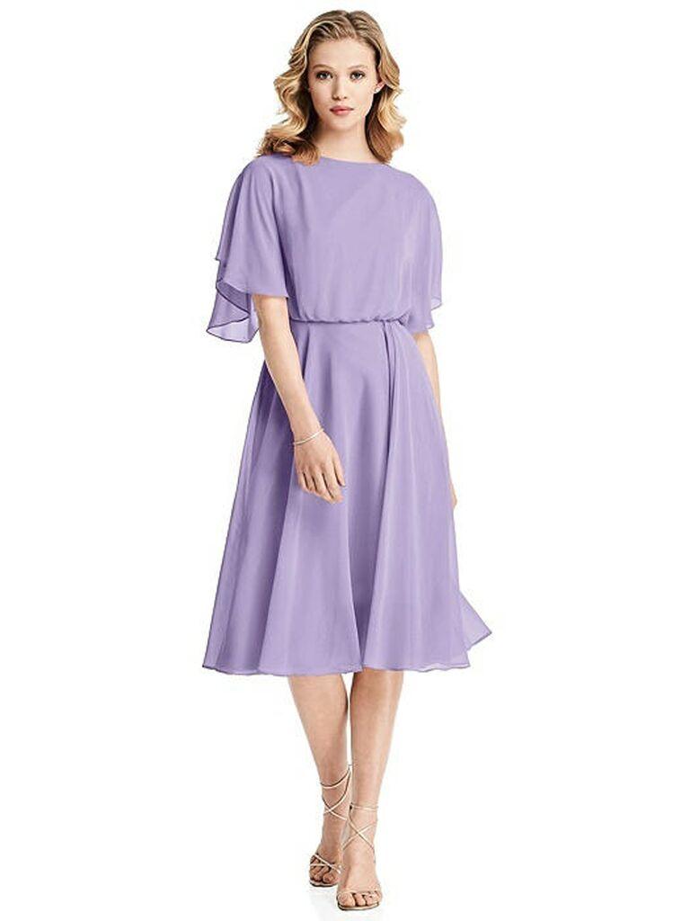 Short lilac bridesmaid dress