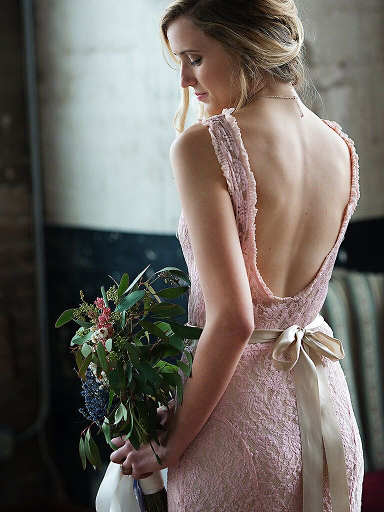 Blush pink vintage lace sheath wedding gown