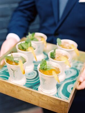 Classic Mint Juleps Served on a Malachite-Pattern Tray