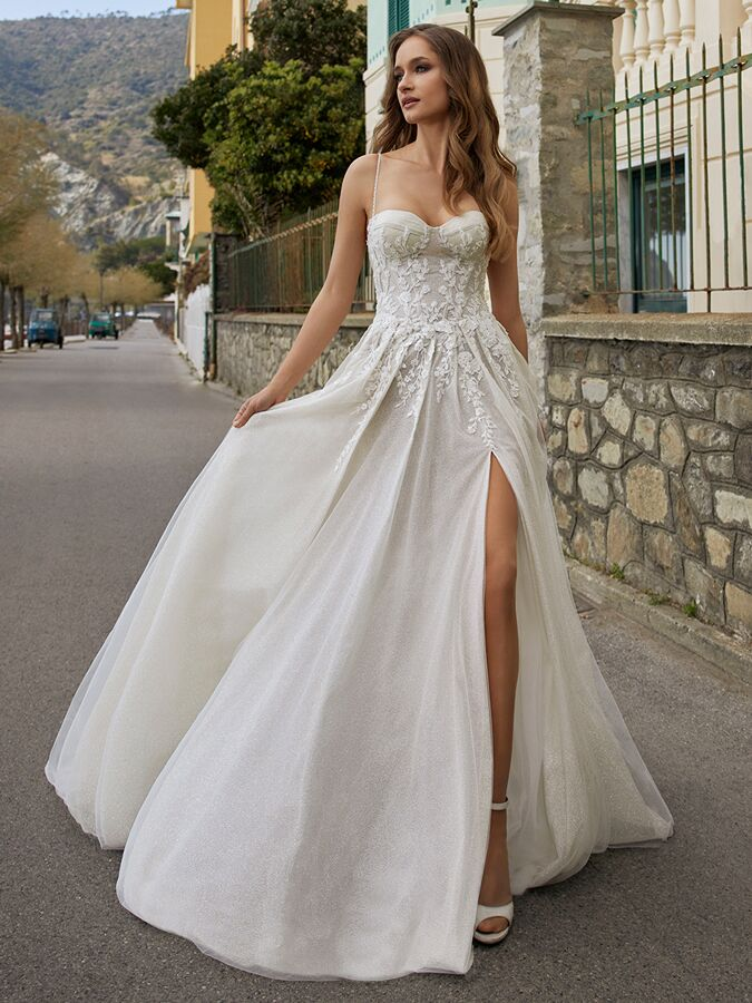 Ines by Ines Di Santo spaghetti strap beaded A-line wedding dress