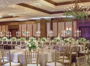 Rustic Reception with Neutral Accents and Round Tables