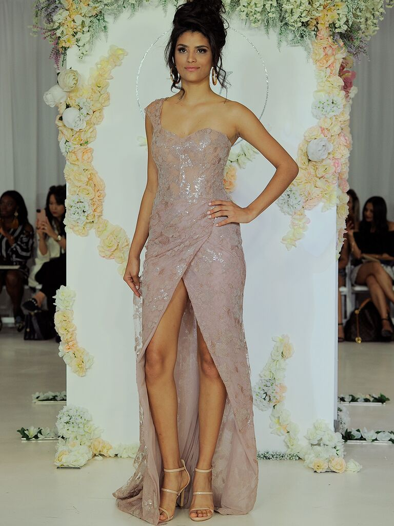 Julie Vino Fall 2018 mauve one-shoulder wedding dress
