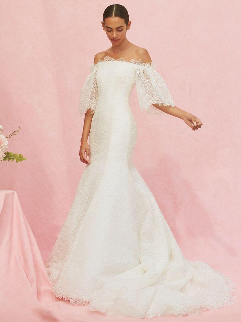 Carolina Herrera Marguerite lace off-the-shoulder wedding dress