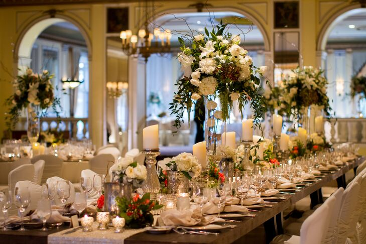 Tall White and Green Floral Arrangement Centerpieces