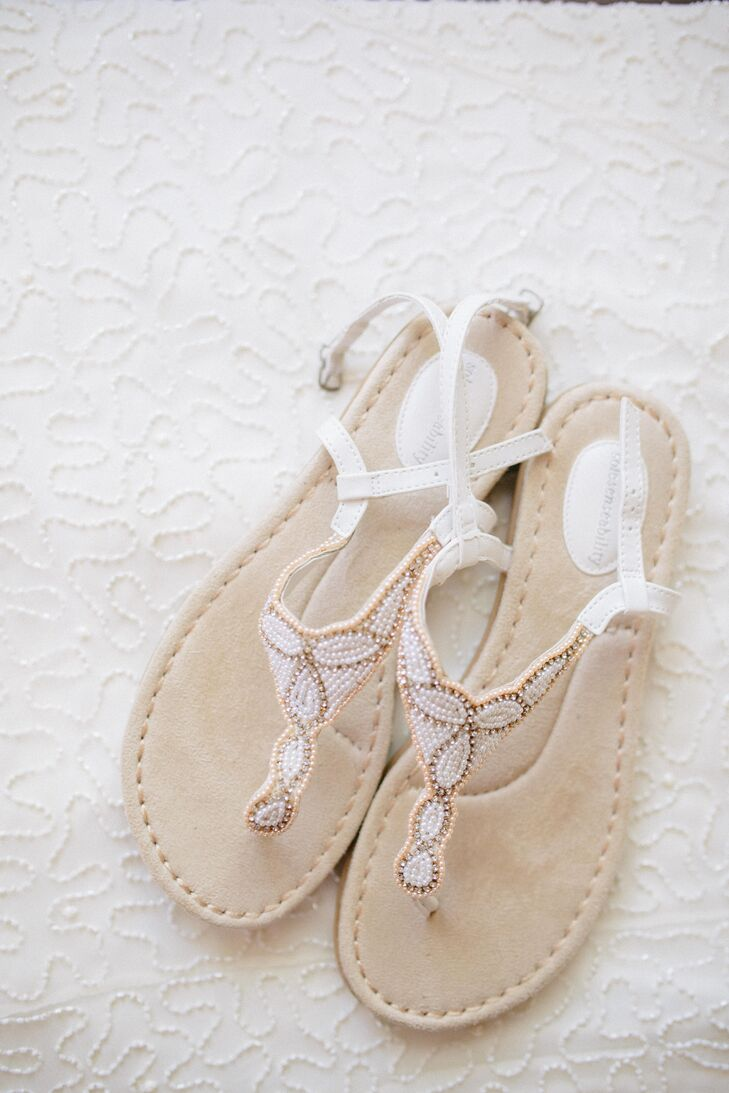 Deborah wanted to wear sandals for the summer Florida wedding. She found these inexpensive beaded ones at Kohl's.