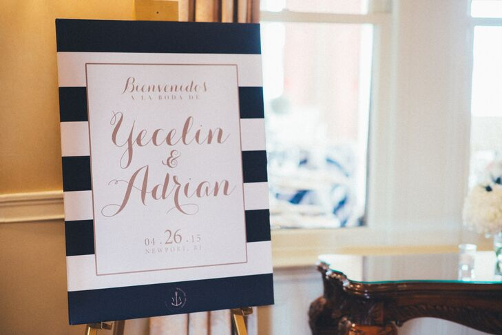 Nautical Striped Welcome Sign