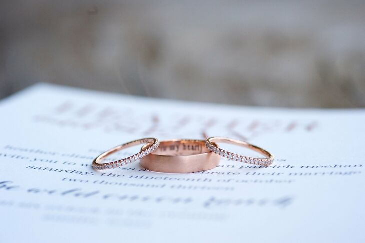 The couple's rose gold rings were designed by Sean.