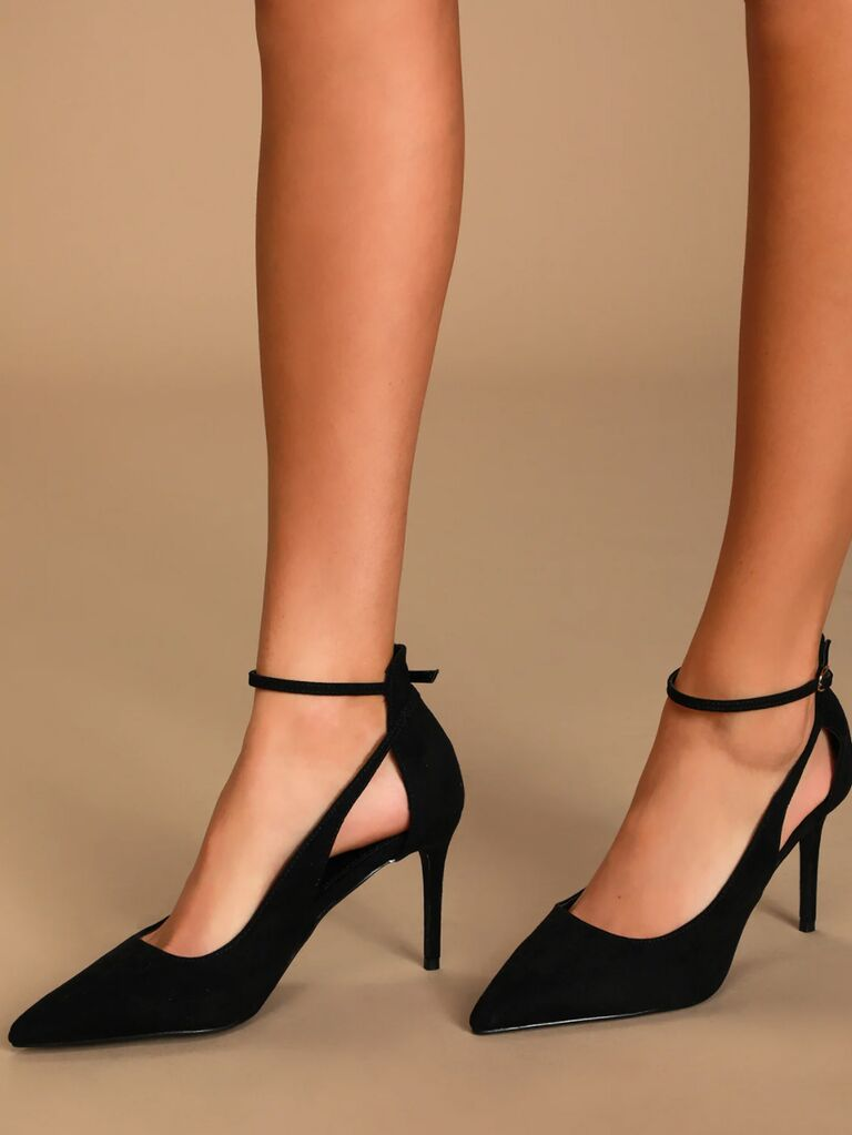 Lulus Deacon black suede pointed-toe ankle strap heels