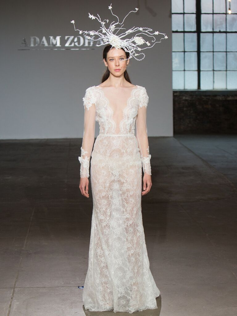Adam Zohar Spring 2019 Collection sheer lace fit-and-flare wedding dress with illusion long sleeves
