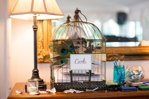 Birdcage Card Holder with Peacock Accents