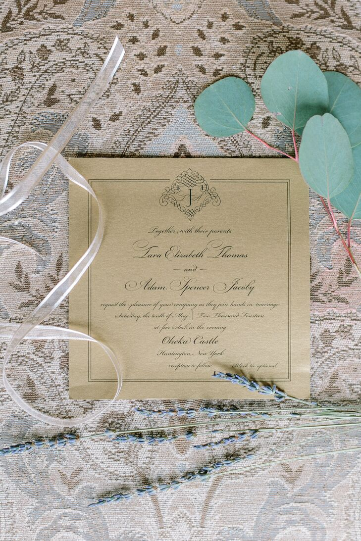 Square Craft Paper Traditional Wedding Invitation