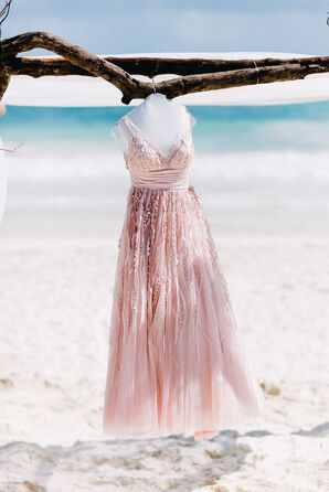 Blush Sequined Watters Wedding Dress