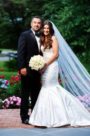 White Satin Mermaid-Style Wedding Dress