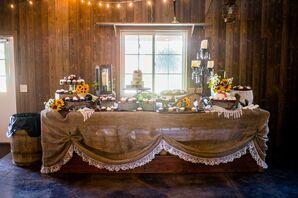 Rustic Burlap-Covered Dessert Table
