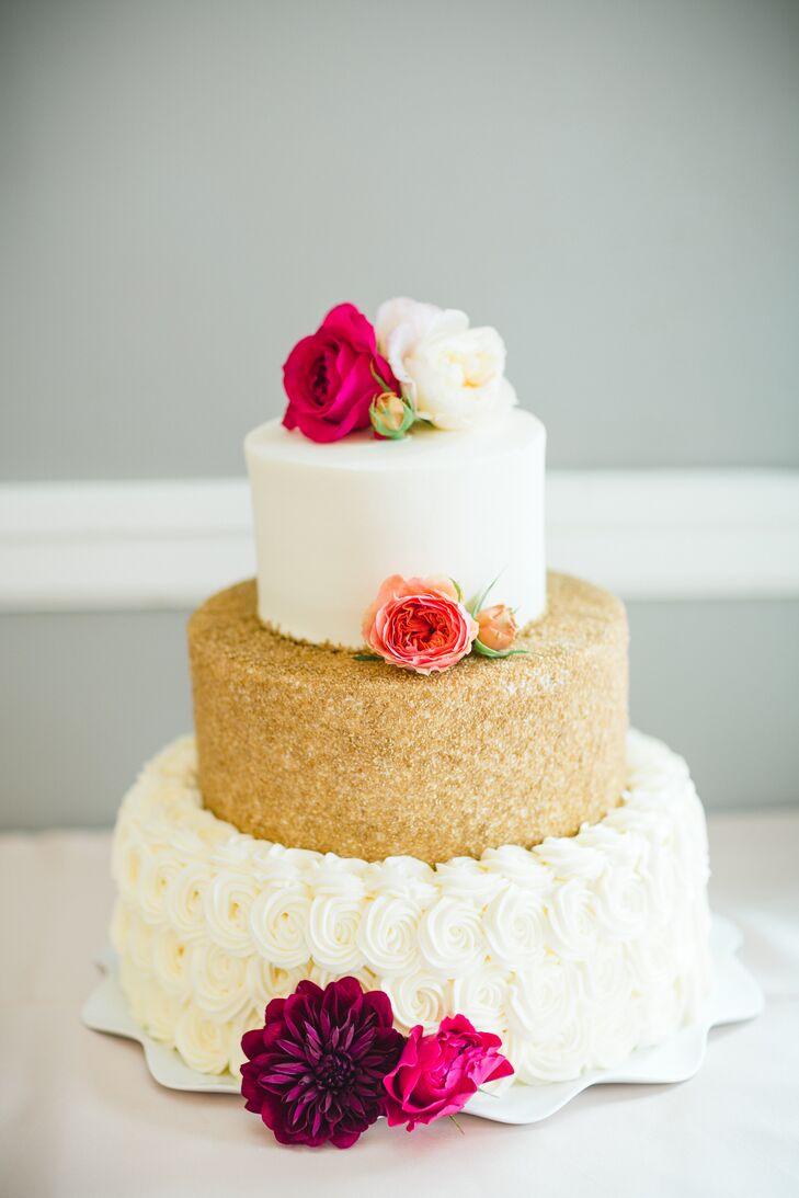 Gold Glitter and Buttercream Rosette Wedding Cake