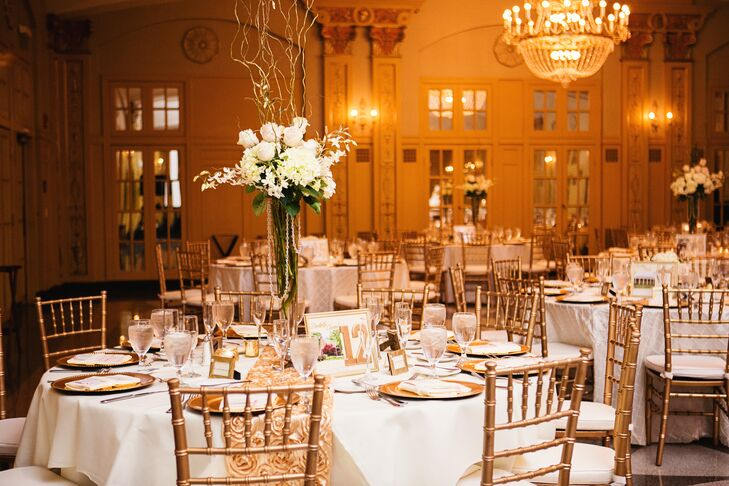 """A huge inspiration was the reception hall itself,"" Christine says. ""I always knew I wanted blush and gold, then when I went to visit the Hilton President Kansas City and saw their ballroom—ornate with gold crown molding and chandeliers, even parts of the walls that had blush colored crown molding—I knew this was the venue and the aesthetic I was going for exponentially came together after that!"""