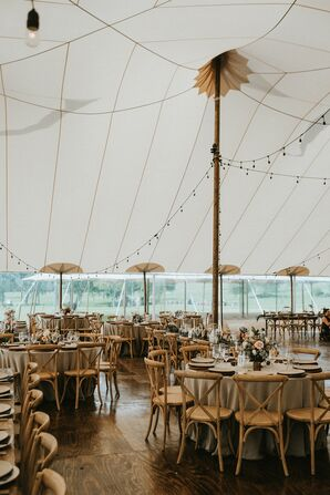 Rustic Tented Reception with Round Tables and Cross-Back Chairs
