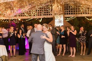 Dance Floor With String Lights and Crystal Chandelier