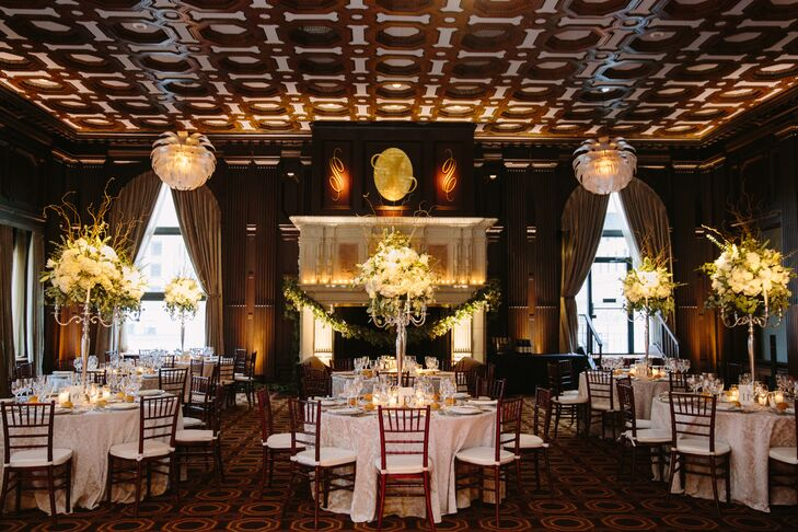 Meghan and Alex held their reception at Julia Morgan Ballroom in the financial district of San Francisco, California. Tables were topped with tall white blossom centerpieces and classic white linens.