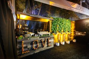 Modern Tented Bar with Sign and Greenery