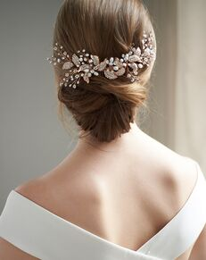 Dareth Colburn Camille Floral Back Comb (TC-2306) Ivory, Silver Pins, Combs + Clip