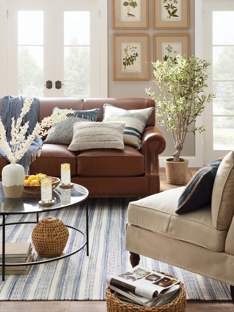 living room with natural textures from wayfair