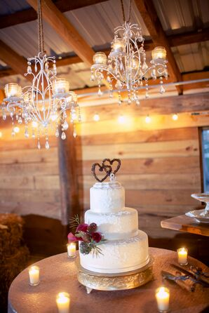 Three-Tier Rustic Cake With Pine Cone Accents