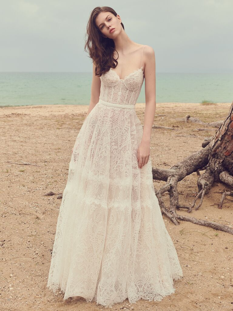 Costarellos sexy lace wedding dress