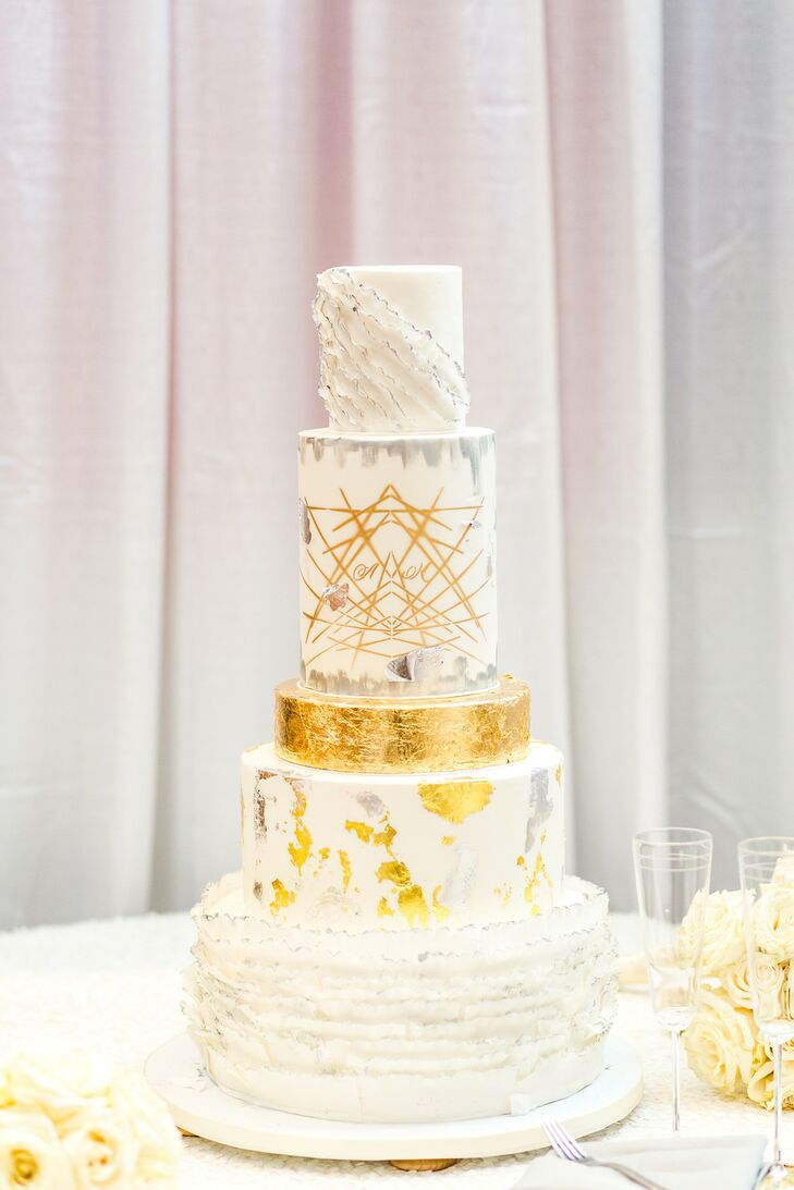 Modern Tiered Wedding Cake with Gold Foil