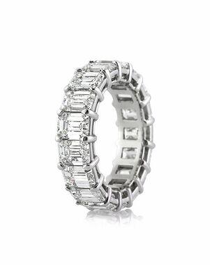 Mark Broumand 9.40ct Emerald Cut Diamond Eternity Band in Platinum Platinum Wedding Ring