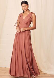 Lulus Dance the Night Away Rusty Rose Backless Maxi Dress V-Neck Bridesmaid Dress