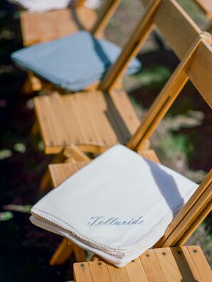 Personalized Blankets on Rustic Wood Folding Chairs