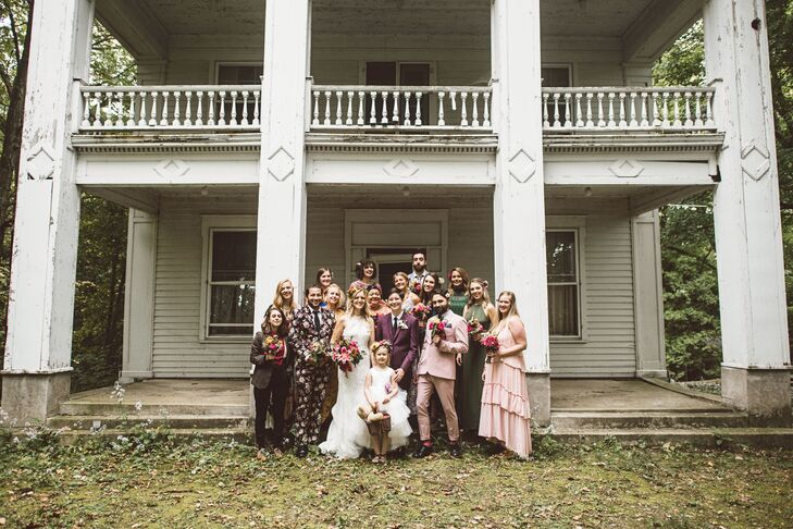 Bohemian Wedding Party in Colorful, Mismatched Looks