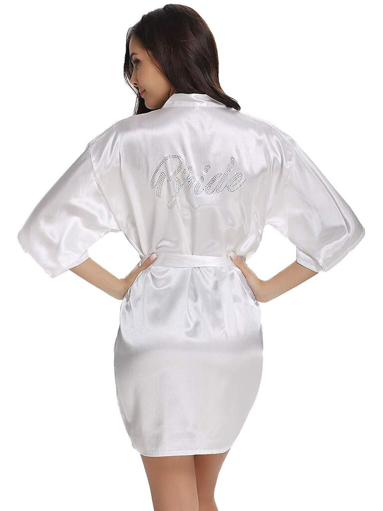 White satin bridal robe with bride embroidery