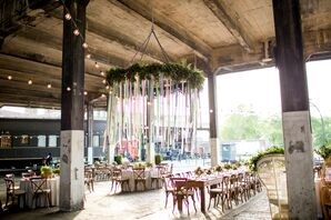 Hanging Greenery and Colorful Ribbon Chandelier