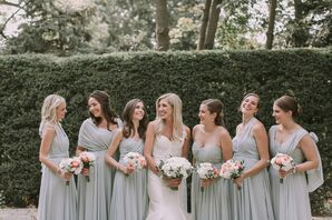 Classic Bride with Bridesmaids in Soft Blue Chiffon Gowns